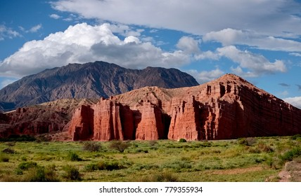 Red Eroded Hills of Las Conchas Gully in Calchaqui Valley Salta Argentina