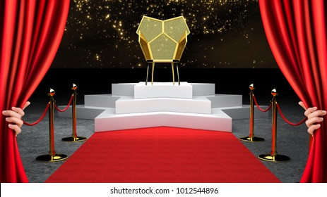 Red Event Carpet, Stair and Gold Rope Barrier Concept and King Throne Chair 3d rendering.