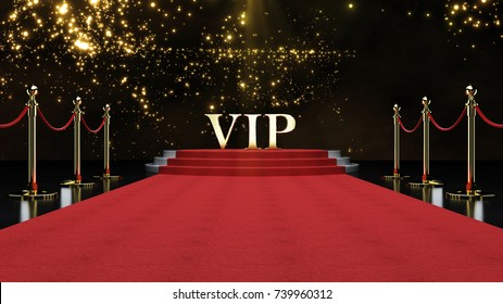 Red Event Carpet, Stair and Gold Rope Barrier Concept of Success and Triumph, 3d rendering.