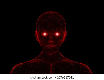 Red evil. Wireframe model with connection lines on black background, artificial intelligence in futuristic technology concept, 3d illustration