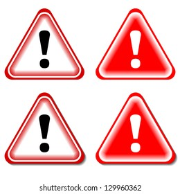 Red Exclamation Sign, Danger signs. Isolated, Raster Version