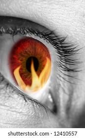 Red eye reflecting fire