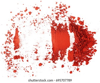 Red eye shadow, powder isolated on white background