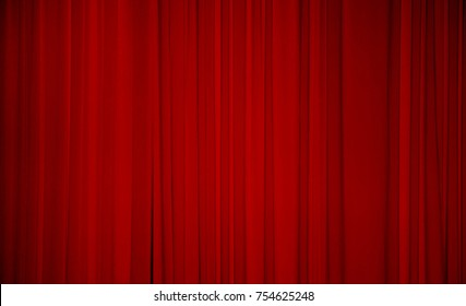 Red fabric background. Draped curtain hanging close-up. Empty Texture. Wide Screen Web Banner With Copy Space.