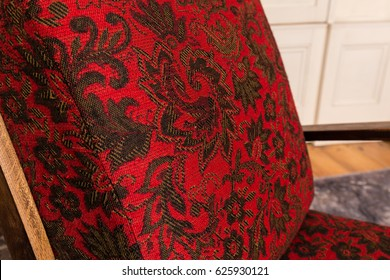 Red fabric lazy chair