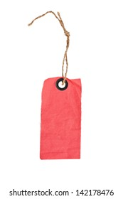 red fabric price tag isolated on a white background