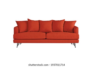 Red fabric sofa on brushed metal legs with pillows isolated on white background. Series of furniture