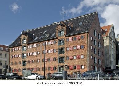 Red facade house in Copenhagen, Denmark