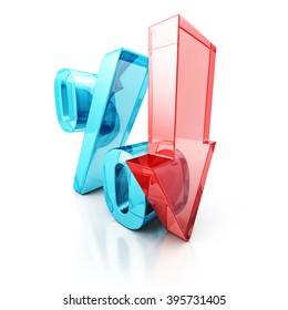 Red Fall Arrow Interest Percent Symbol. Financial Business Concept 3D Render Illustration
