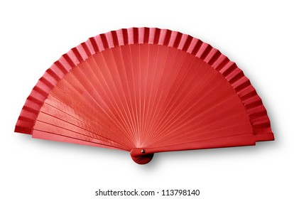 Red fan on white with shadow ( clipping path)
