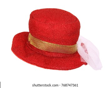 Red fancy hat isolated on white background.