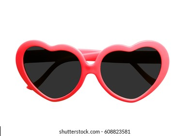 Red fancy heart shape eye glass isolated on white background