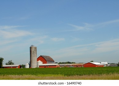 Red farm buildings, Summer