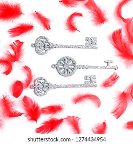 red feathers and decorative keys. flat lay, top view, creative layout