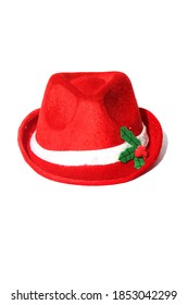 Red Fedora. wool felt fedora. Red Christmas Fedora hat. Isolated on white. Room for text.