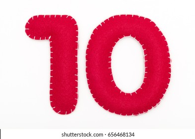 Red felt numeral 10