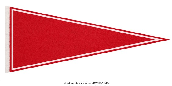 Red felt pennant on a white background