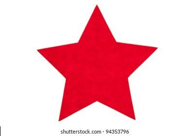 Red felt star isolated on white