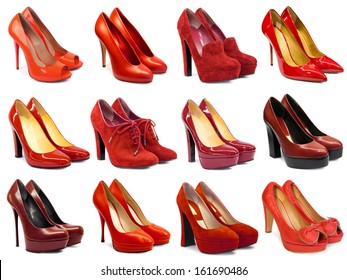 Red female footwear collection on white background