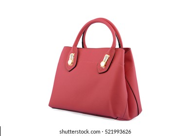 Red female leather bag isolated on white background.