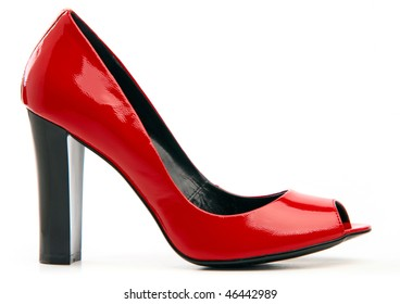 Red female shoe with open toe