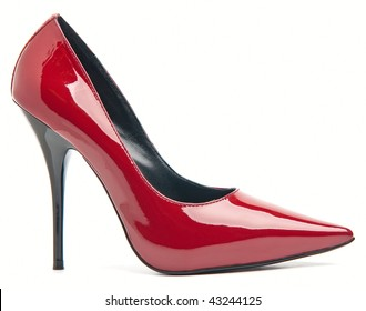 Red female shoes on a high heel. Isolated on white background.