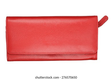 Red female wallet isolated on white background. With clipping path