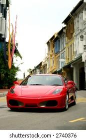 Red Ferrari F430 in Chinatown of Singapore