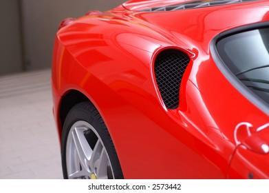 Red ferrari, luxury and fast italian car.