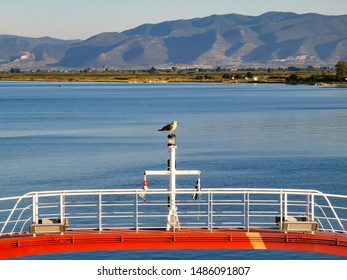 red ferry boat in greece