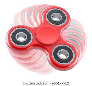 Red fidget spinner with motion blur effect - 3D illustration