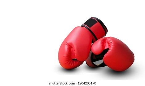 Red fighting gloves isolated on white background