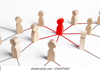 The red figure of a person spreads his influence to people through a communication network. Following a new idea. Leader and leadership. Cooperation and collaboration, communication with society. Meme