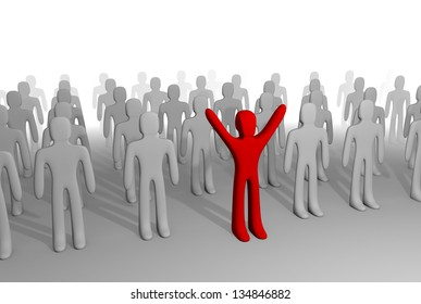 Red figure standing out of grey crowd. 3D rendering. Promotes individuality, points out different thinking, style, etc.