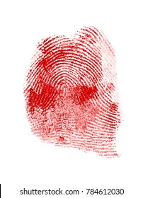 Red fingerprint on white paper