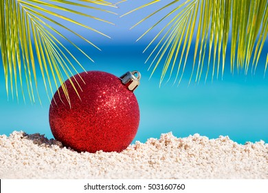 red fir tree decoration ball on sandy beach with palm tree leaves tropical christmas and