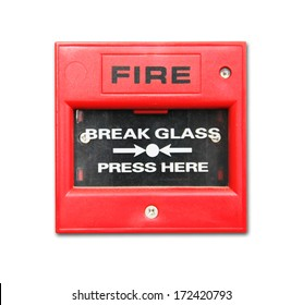 Red fire alarm box isolated on white background
