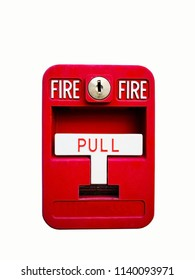 Red fire alarm box for warning and security system. Pull danger fire safety box. Break red alarm equipment detector safe detector. Isolated on white background, copy space and clipping path.