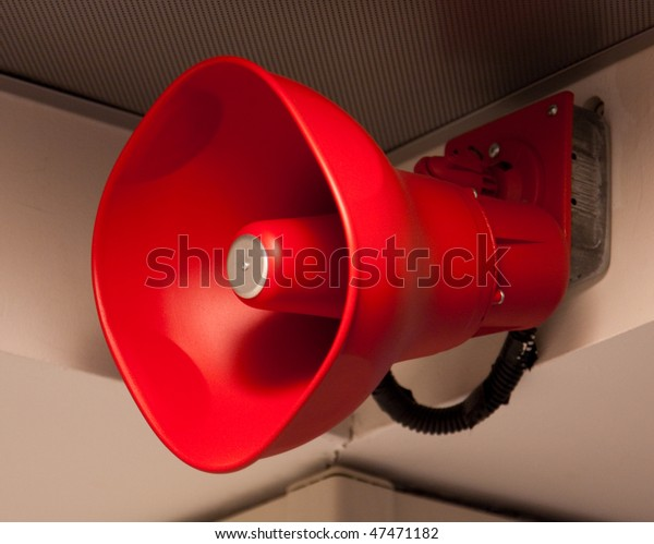 Red Fire Announcement Loud Speaker from an airport