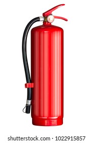 Red fire extinguisher isolated on white background with clipping path