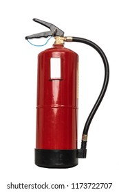 Red fire extinguisher in white bottom