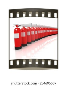 Red fire extinguishers on a white background