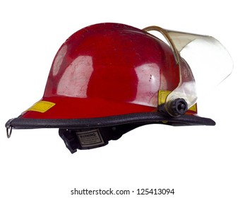 Red fire helmet over the white background