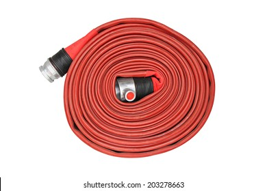 Red fire hose winder through use of firefighters on white background