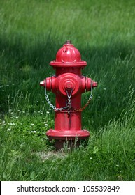 A red fire hydrant against a green lawn