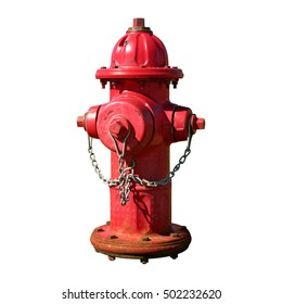 Red fire hydrant with a chain. Isolated from its background.