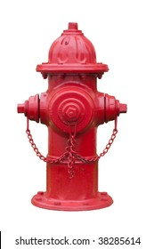 Red fire hydrant isolated on white.