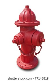 Red fire hydrant isolated on white with clipping path