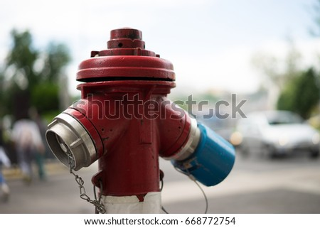 Red fire hydrant on