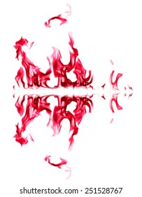 Red fire light on white background